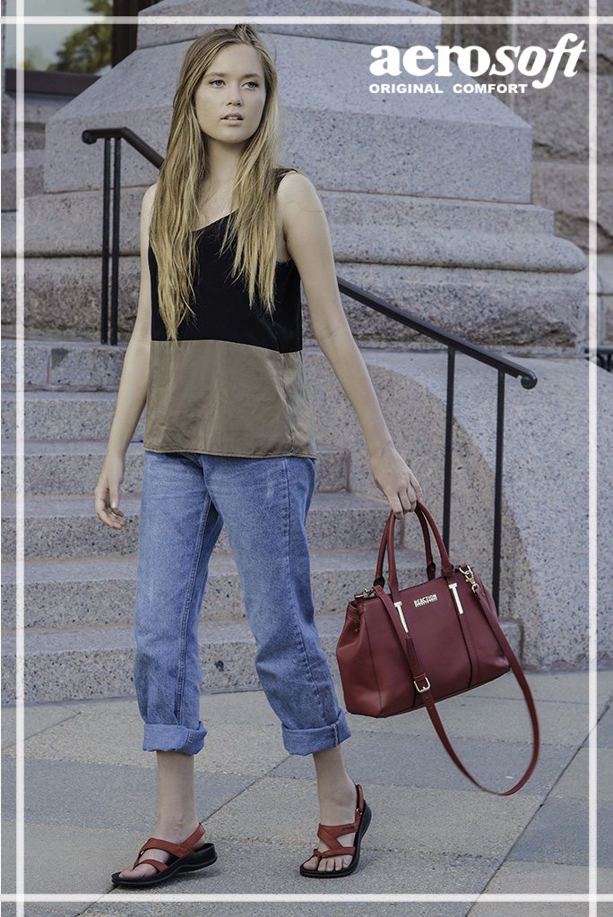 Jeans with red contrast