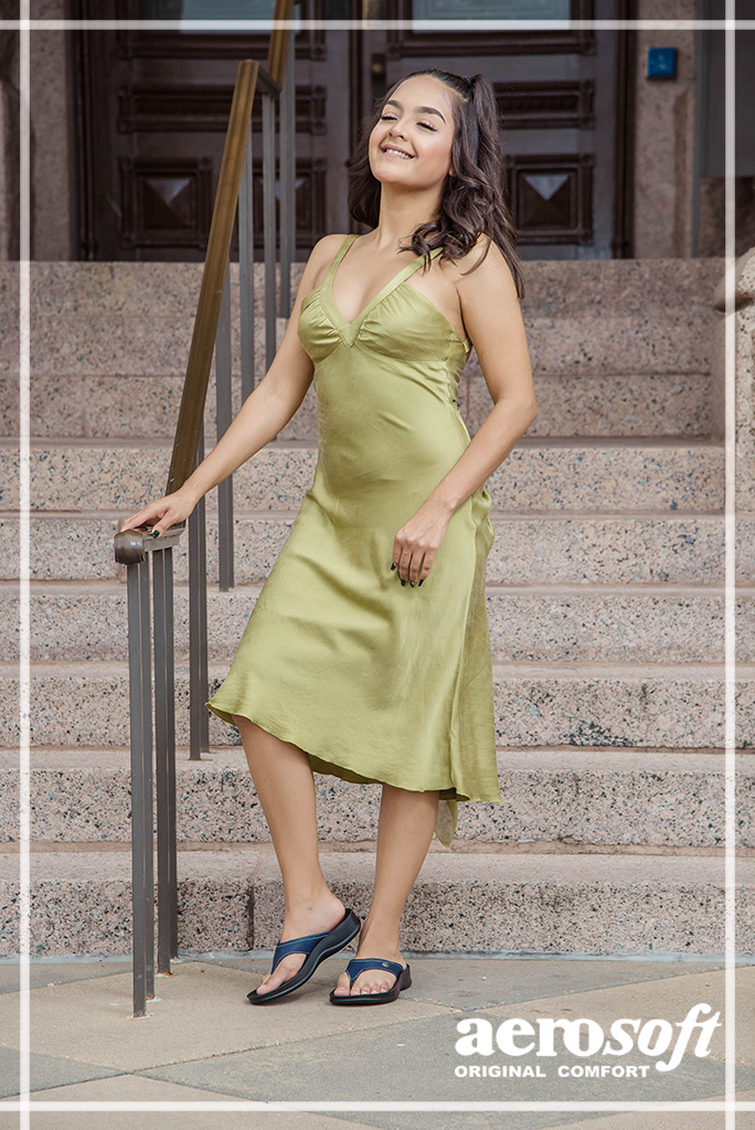 Silk Shift Dress with half pigtails