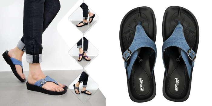 denimre a08c4 blue women t strap sandals aerosoft footwear