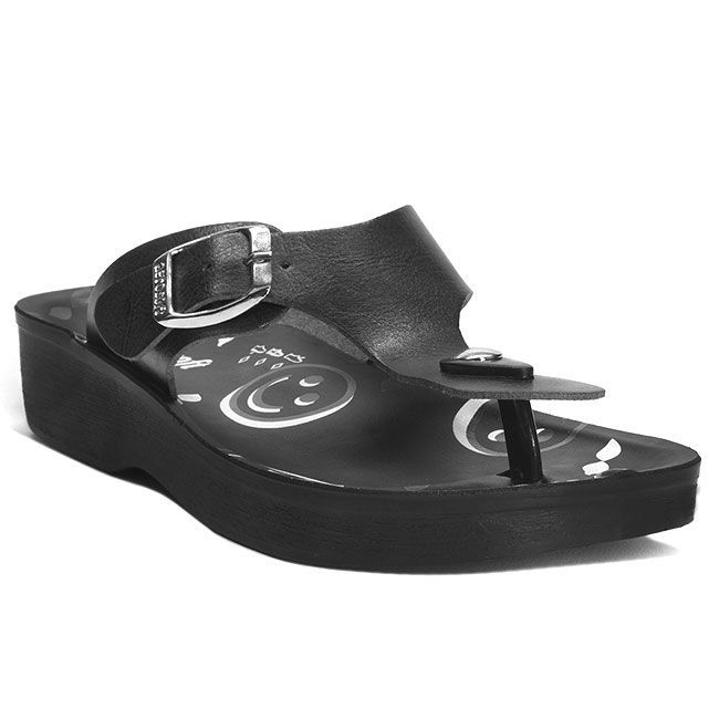 Aerosoft Ladies Orthopaedic Comfort Buckle Style Toe Post Summer Sandals Black